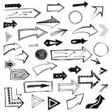 Ensemble de flèches tirées par la main sur le fond blanc Illustration de vecteur illustration libre de droits