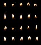 Ensemble de flamme de bougie d'isolement Photographie stock libre de droits