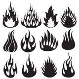 Ensemble de flammes de vecteur illustration libre de droits