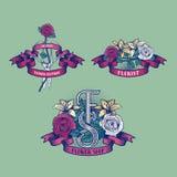Ensemble de fleuriste grunge de style, logo de vecteur de fleuriste Illustration Stock