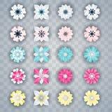 Ensemble de fleurs colorées blanches illustration de vecteur