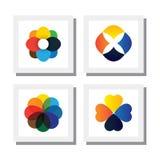 Ensemble de fleurs dans diverses couleurs lumineuses - dirigez les icônes Photographie stock libre de droits