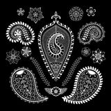 Ensemble de fleurs et d'éléments abstraits de Paisley dans le St indien de mehndi Images stock