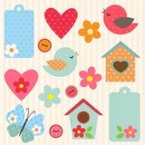 Ensemble de fleurs et d'oiseaux Photos stock