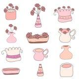 Ensemble de fleurs et de pots tirés par la main mignons sur le fond blanc vecteur prêt d'image d'illustrations de téléchargement Photographie stock libre de droits