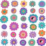 Ensemble de fleurs hippies colorées illustration de vecteur