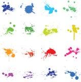 Ensemble de floc de peinture d'encre de couleur Image libre de droits
