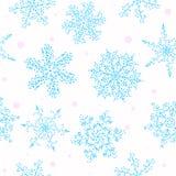 Ensemble de flocon de neige noir et blanc tiré par la main illustration de vecteur