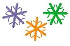 Ensemble de flocons de neige à crochet pendant la nouvelle année, vacances, d'isolement sur la conception blanche de fond Photos libres de droits