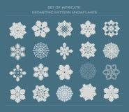 Ensemble de flocons de neige complexes de modèle Image libre de droits