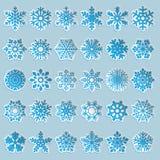 Ensemble de flocons de neige de papier Images libres de droits