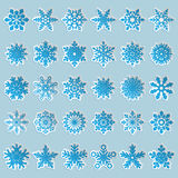Ensemble de flocons de neige de papier Images stock