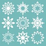 Ensemble de flocons de neige de vecteur Collection faite main pour Noël Images libres de droits