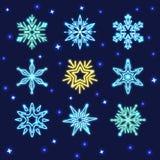 Ensemble de flocons de neige au néon Images libres de droits