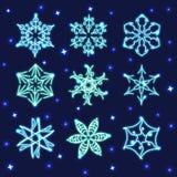 Ensemble de flocons de neige au néon Photos libres de droits