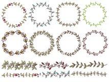 Ensemble de floral tiré par la main des guirlandes le style rustique Photo stock