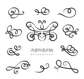 Ensemble de flourishes calligraphiques de vintage illustration stock