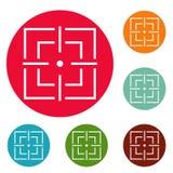 Ensemble de focalisation de cercle d'icônes illustration de vecteur
