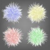 Ensemble de fond coloré différent de sphères de fourrure illustration de vecteur