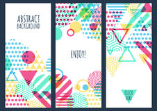 Ensemble de fond créatif de bannière de trois vecteurs avec g multicolore Photo libre de droits