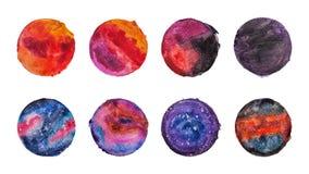 Ensemble de fond d'aquarelle de cercle Images stock