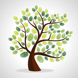Ensemble de fond d'arbre d'empreintes digitales Image libre de droits