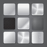 Ensemble de fond d'icônes de $$etAPP. Icônes de bouton en métal. Image libre de droits