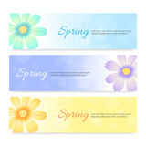 Ensemble de fond de bannière de printemps Photo stock