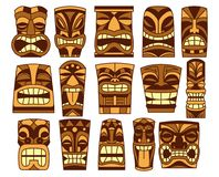Ensemble de fond différent de Tiki Idols Isolated On White illustration libre de droits
