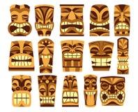 Ensemble de fond différent de Tiki Idols Isolated On White Images stock