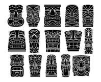 Ensemble de fond différent de Tiki Idols Isolated On White Image stock