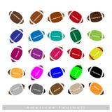 Ensemble de footballs américains multicolores sur le blanc Image libre de droits