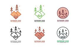 Ensemble de forêts avec de l'eau Logo Vector Photo stock