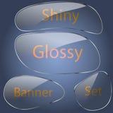 Ensemble de forme aérodynamique de bannières en verre photographie stock