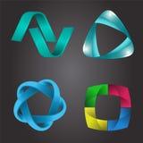 Ensemble de forme de logo, style 3d Image stock