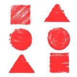 Ensemble de formes géométriques, peint dans l'aquarelle Milieux et textures Images libres de droits