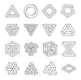 Ensemble de formes impossibles Illusion optique Illustration de vecteur d'isolement sur le blanc La géométrie sacrée Lignes noire illustration de vecteur