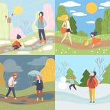 Ensemble de Four Seasons, hiver, printemps, été et automne, les gens appréciant le temps différent dans l'illustration de vecteur illustration de vecteur