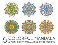Ensemble de fractale ethnique Mandala Vector illustration de vecteur