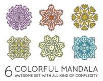 Ensemble de fractale ethnique Mandala Vector Meditation illustration libre de droits