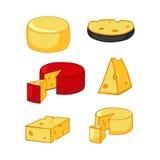 Ensemble de fromage de bande dessinée de plusieurs variétés Images libres de droits