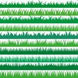 Ensemble de frontières horizontales d'herbe verte de ressort Collection d'herbe verte sur le fond blanc Image libre de droits