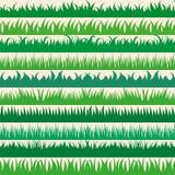 Ensemble de frontières horizontales d'herbe verte de ressort Collection d'herbe verte sur le fond blanc Photos stock