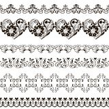 Ensemble de frontières sans couture avec des coeurs henné illustration stock