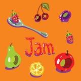 Ensemble de fruit, cuillère illustration de vecteur