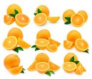 Ensemble de fruit orange frais avec la feuille d'isolement sur le fond blanc Photos libres de droits