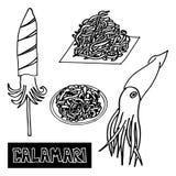 Ensemble de fruits de mer de calmar de fruits de mer Calmar-koreyskiy illustration libre de droits