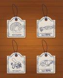 Ensemble de fruits de mer de 4 de vintage éléments de conception : homard illustration stock