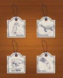 Ensemble de fruits de mer de 4 de vintage éléments de conception : mer illustration stock