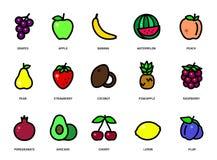 Ensemble de fruits et de baies Dirigez les fruits et les baies de bande dessinée d'isolement sur le fond blanc illustration libre de droits